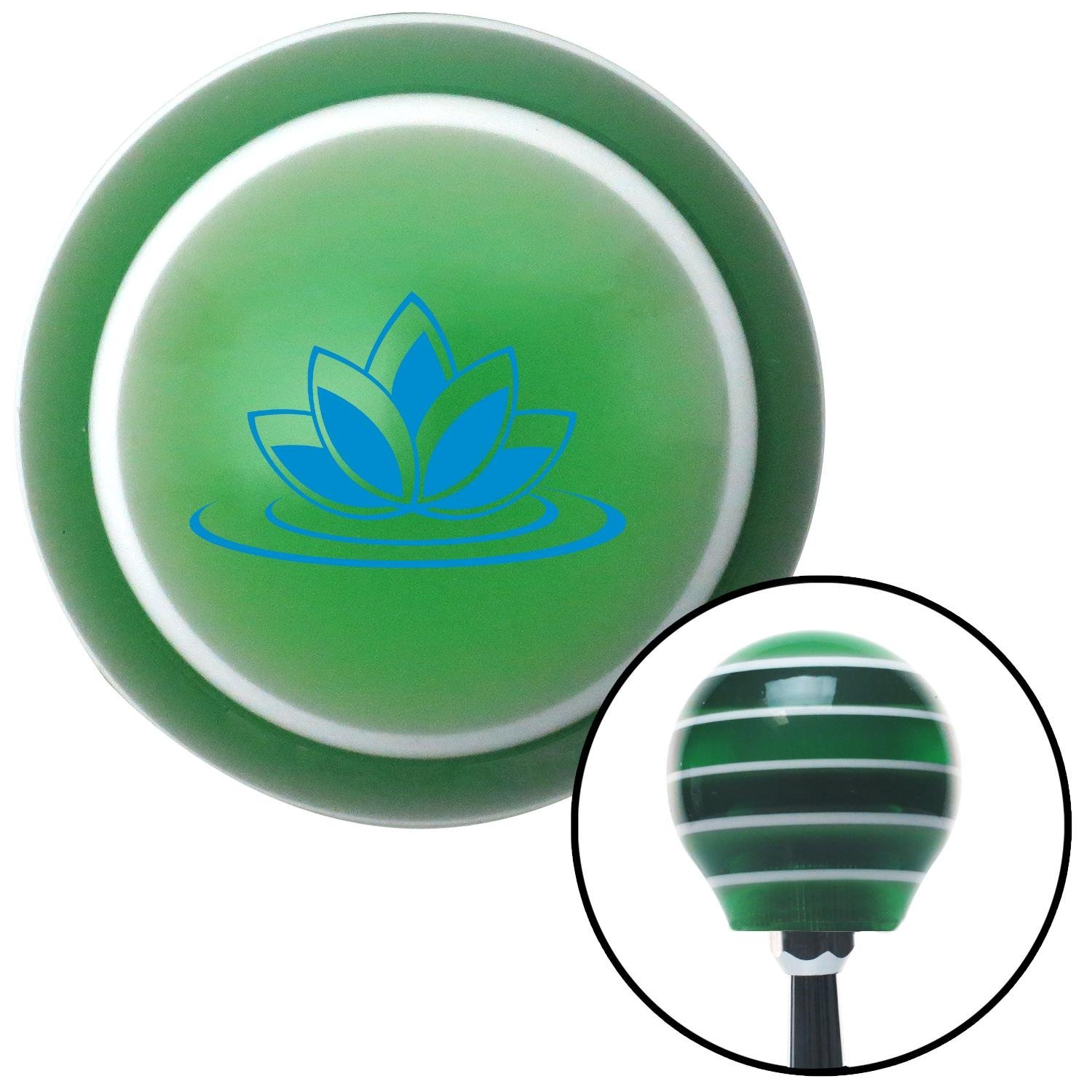 Blue Flower on Lilypad American Shifter 124330 Green Stripe Shift Knob with M16 x 1.5 Insert