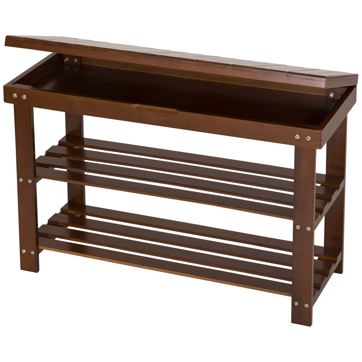 Ollieroo Shoe Rack 2 Tier Natural Bamboo Shoe Bench Organizer, Foot Stool with Storage Drawer on Top (Amber)