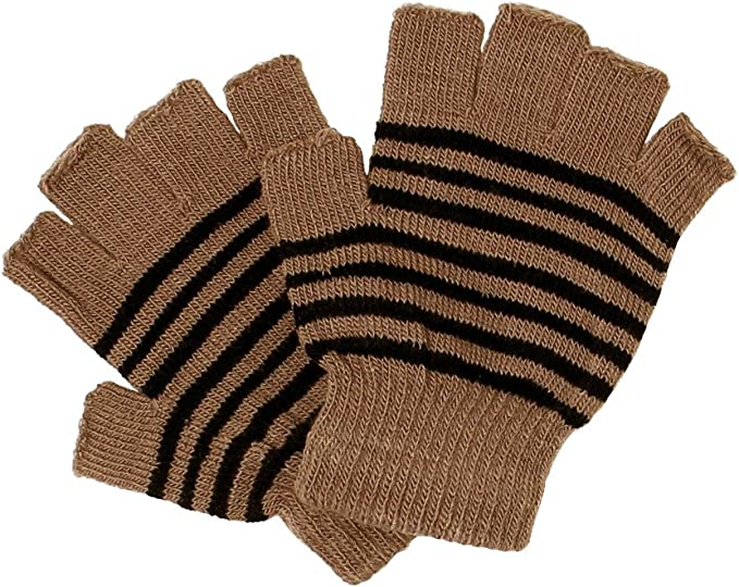 Unisex Men Women Thermal Knitted Stripe Plain Warm Full Finger Winter Gloves