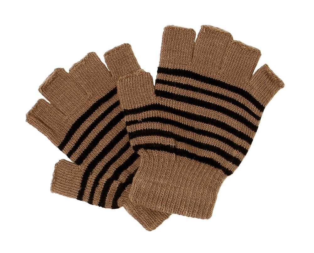 LL- Womens Striped Fingerless Knit Fall Winter Gloves with 5 Half Fingers G4119-BG