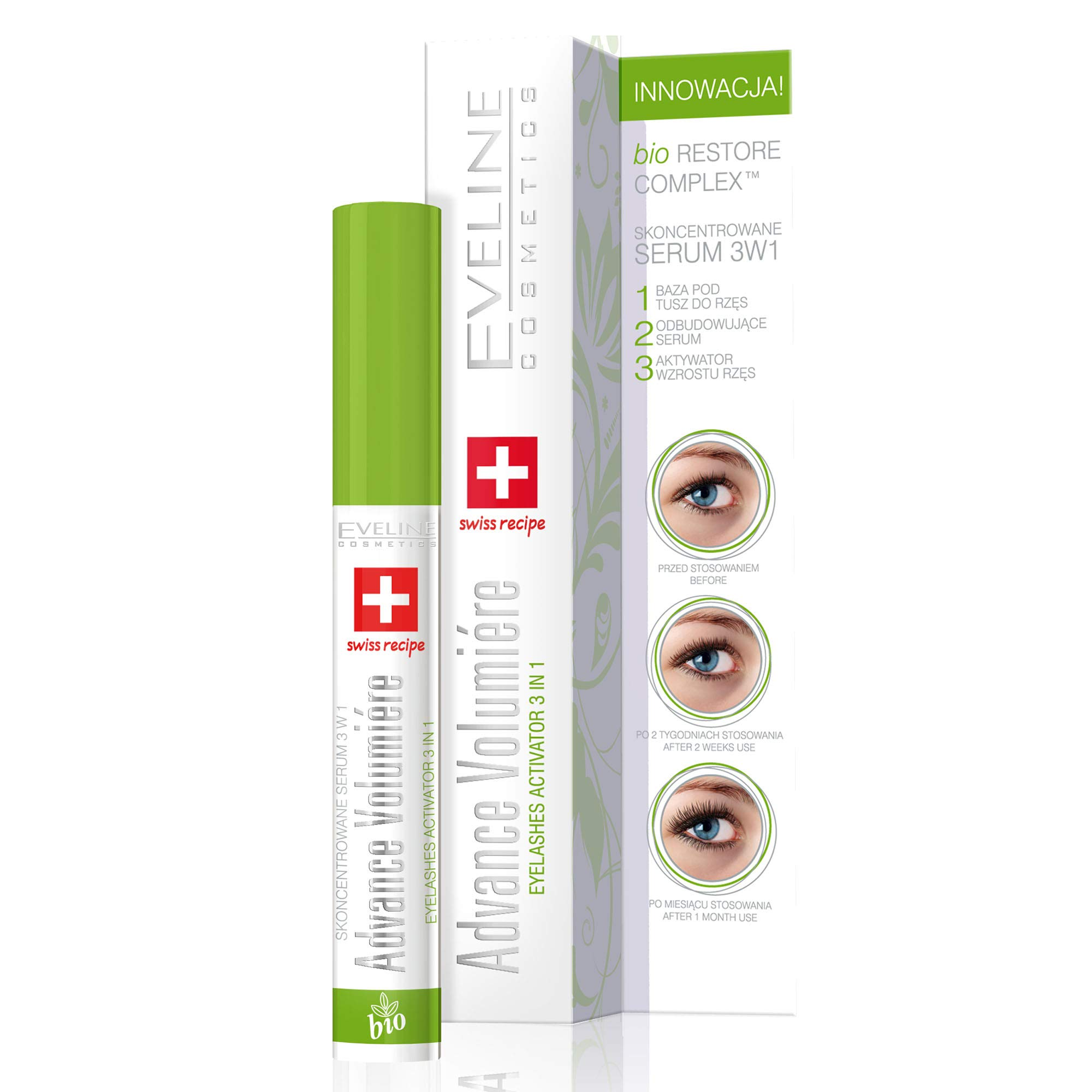 Eveline Cosmetics Concentrated Advance Volumiere Eyelash Serum | 10ml | Growth Activator | Strengthening and Thickening Lash Conditioner | Innovative Formula with Hyaluronic Acid