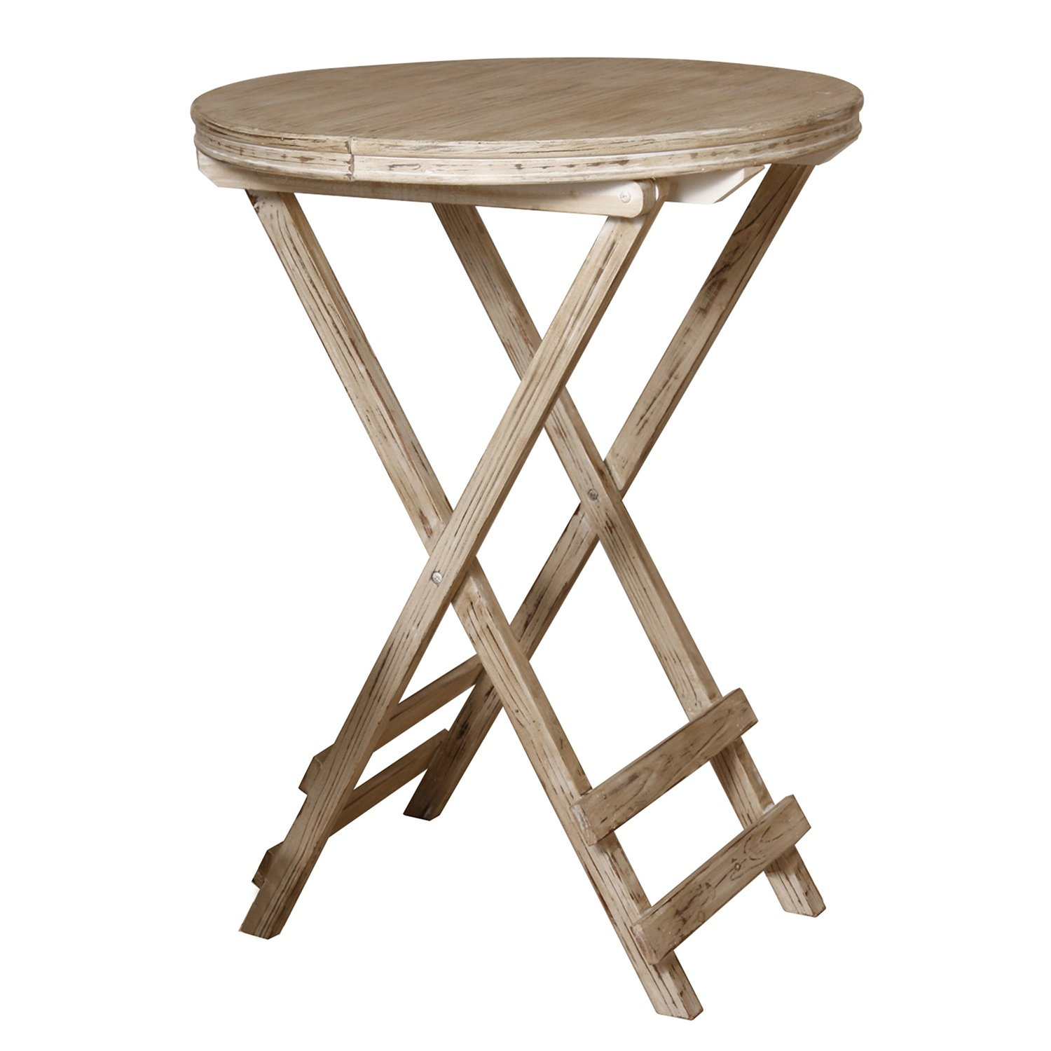 Foldable Round Wood Table 30'' Diameter Winter White-Wash Color Everyday Table by The Gerson Company