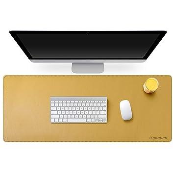 Mydours Cojín de escritorio multifuncional del escritorio de PU Cuero Gaming y Oficina Desk Mat Gran Tamaño (95x40Cm) Impermeable para Oficina PC ...