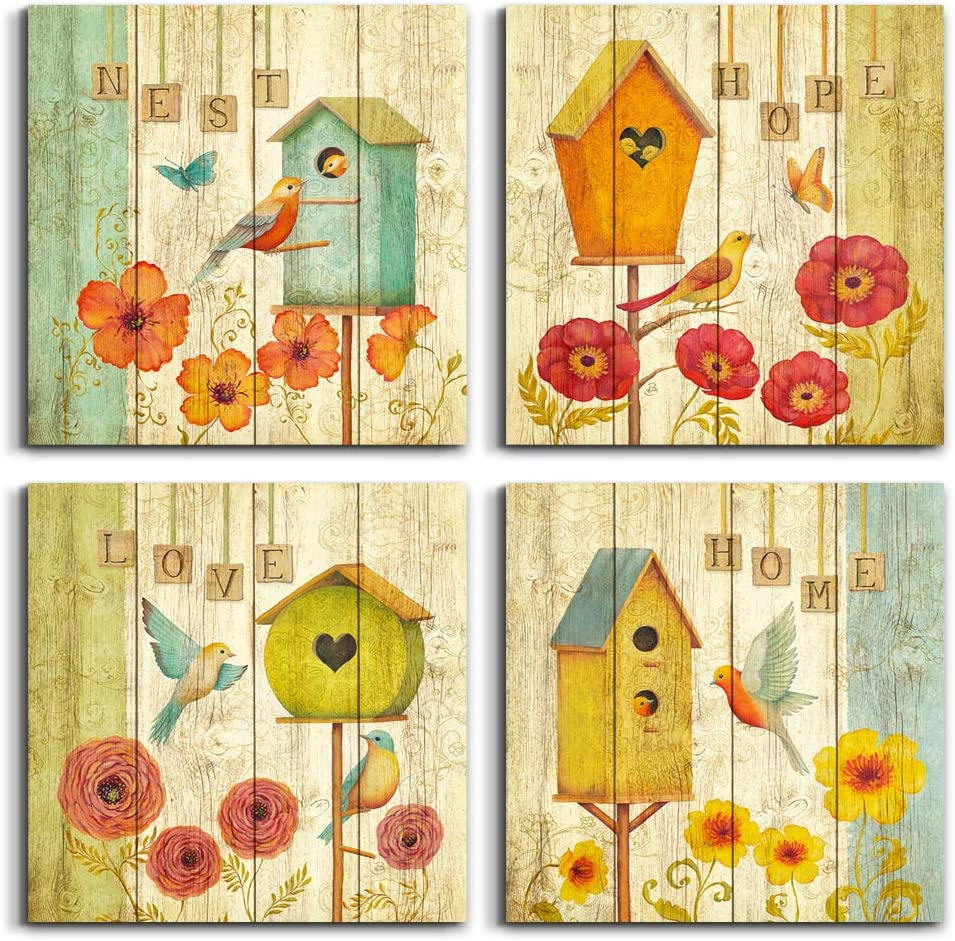 farmhouse decor Canvas Wall Art - Retro flowers And the bird painting Home Decor Stretched and Framed Ready to Hang wall decorations for living room kitchen Bedroom bathroom decor wall art- 4 Panels