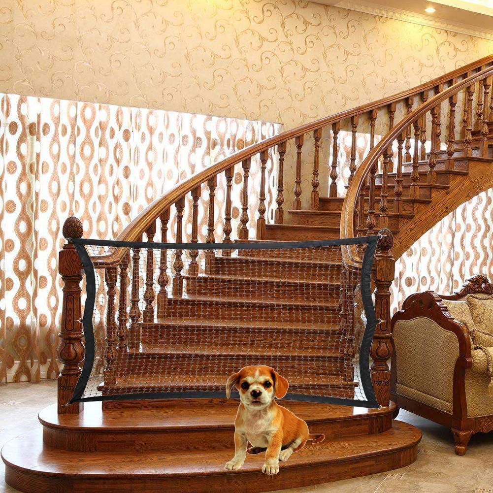 Qchengsan Puerta mágica para Perros Escalera, Malla elástica para Barrera de Mascotas, Valla de Seguridad Plegable para bebés, Caja de Seguridad para Perros para Uso Interior de Escalera/Puerta: Amazon.es: Productos para mascotas