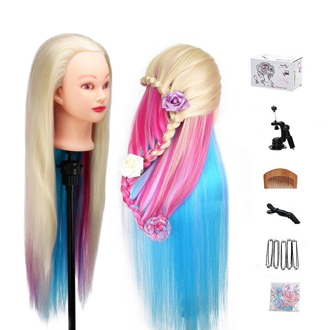 MYSWEETY 29 Inch Colorful Hair Mannequin Head Hairdressing Practice Training Doll Heads Cosmetology Hair Styling Mannequins Heads with Clamp + Practice Tools by MYSWEETY (Image #1)