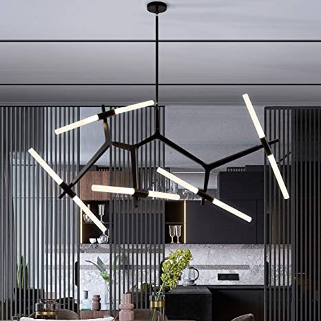 Weesalife Sputnik Modern Chandelier 10 Lights With Frosted Glass Shade Pendant Lighting Fixture Matte Black Industrial Retro Style For Dining Room Living Room Kitchen Island Hotel Farmhouse