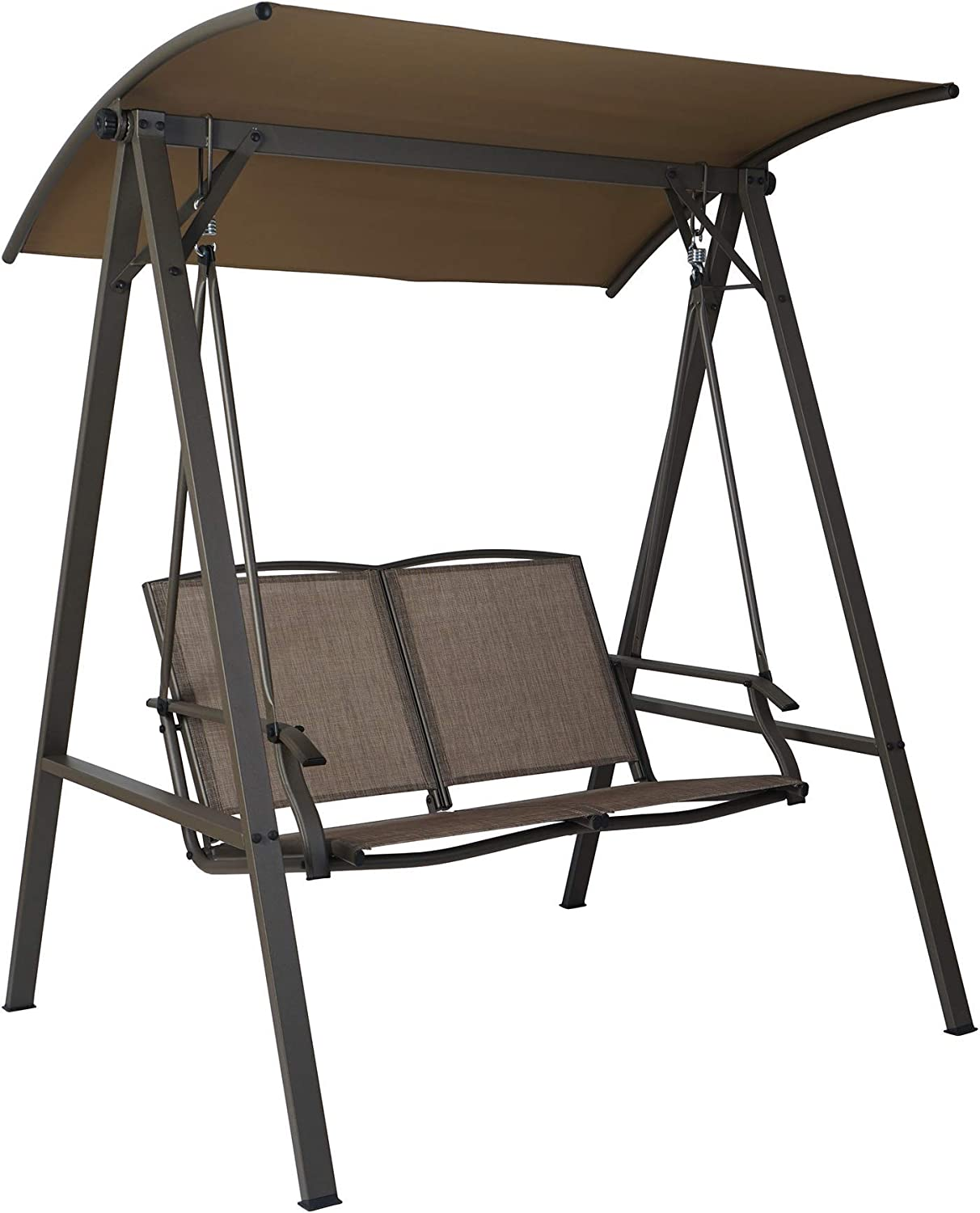 Kozyard Doris 2 Person Outdoor Patio Swing with Breathable Textilence Seat (Taupe)