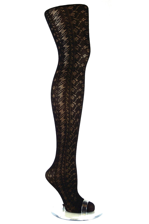 1 Pair womens black patterned tights 80 Denier Plus size XL-XXL 18-22 R12