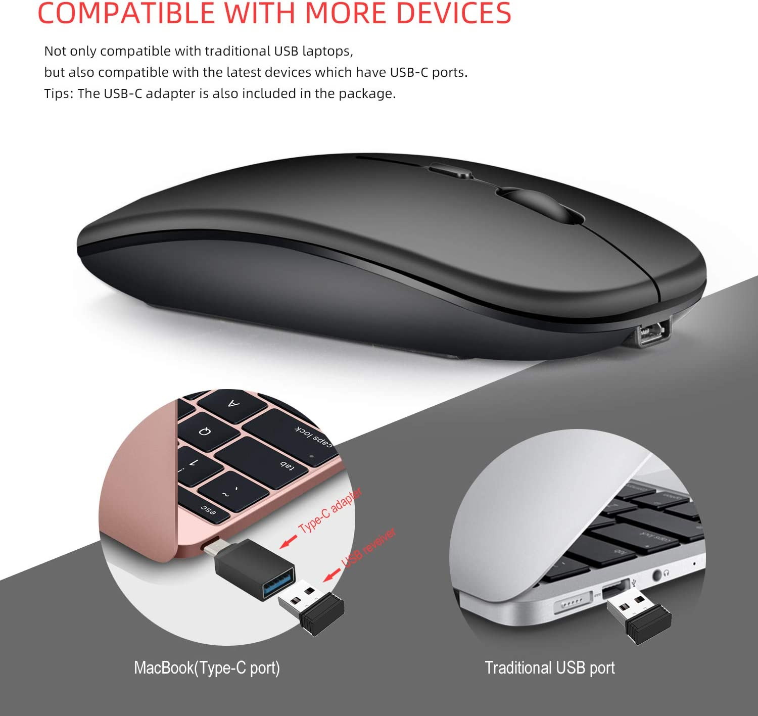 2.4G Wireless Mute Computer Mouse for PC Laptop Silver Alician for Dual Mode Bluetooth 4.0