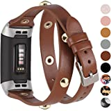 Moolia Leather Double Wrap Band Compatible for Fitbit Charge 4 / Fitbit Charge 3 / Fitbit Charge 3 SE , Genuine Double…