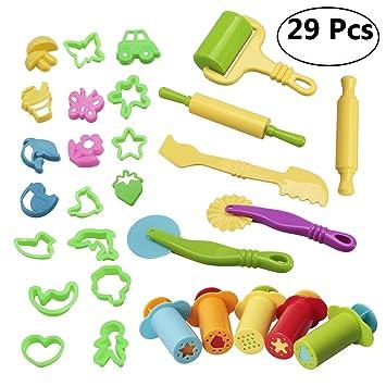 Masa de arcilla y herramientas con modelos y moldes, hornear masa juguetes con extrusora Animal