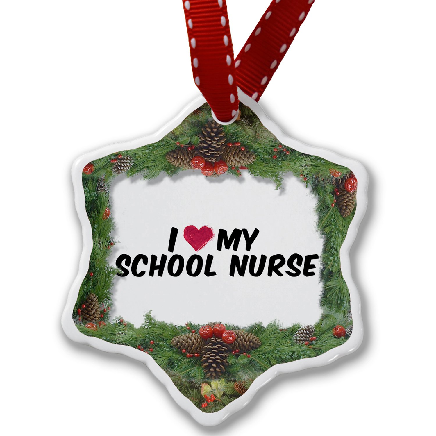 Christmas Ornament I heart love my School Nurse - Neonblond