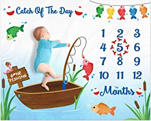 "Eunikroko Gone Fishing Baby Monthly Milestone Blanket Little Fisherman Bobber Photo Prop Blanket The Big One Ideas for Newborn Boy and Girl Nursery Décor 40"" X 50"""