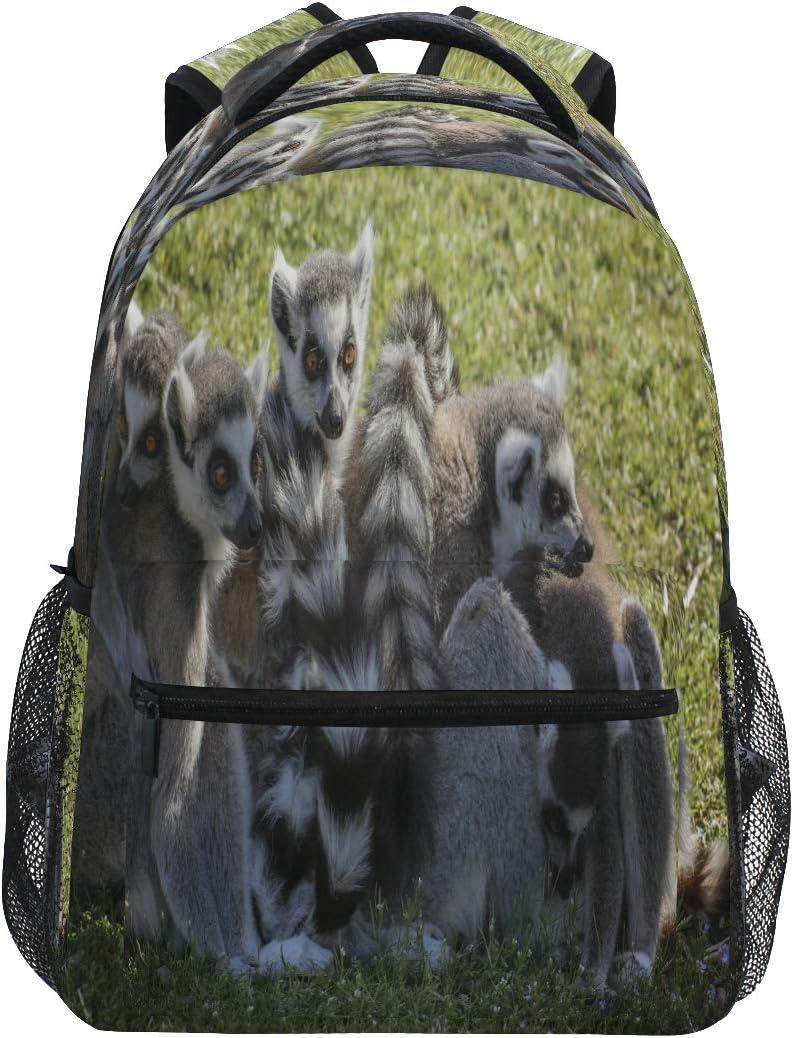 SLHFPX High School Backpack for Women Cute Animal Lemures Family Bookbag Laptop Bag Girls Boys