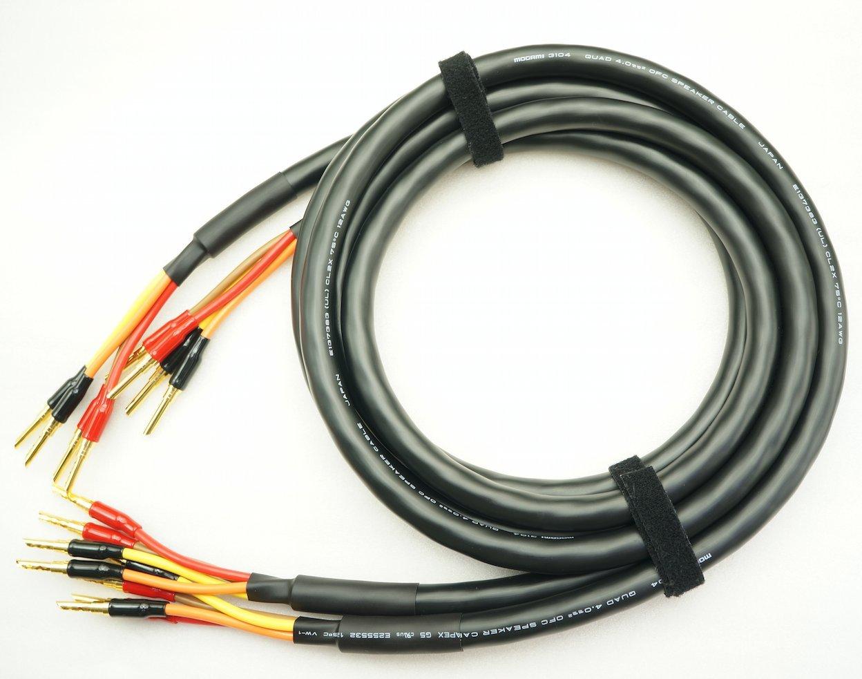 MOGAMI 3104 バイワイヤリング対応 2本ペア バナナプラグ付 スピーカーケーブル (4本-4本) (4m) B07B4G7554