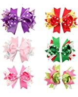 Mookiraer Christmas Cute Baby's and Girl's Grosgrain Hair Bows Hair Clips Barrettes 6 Pack