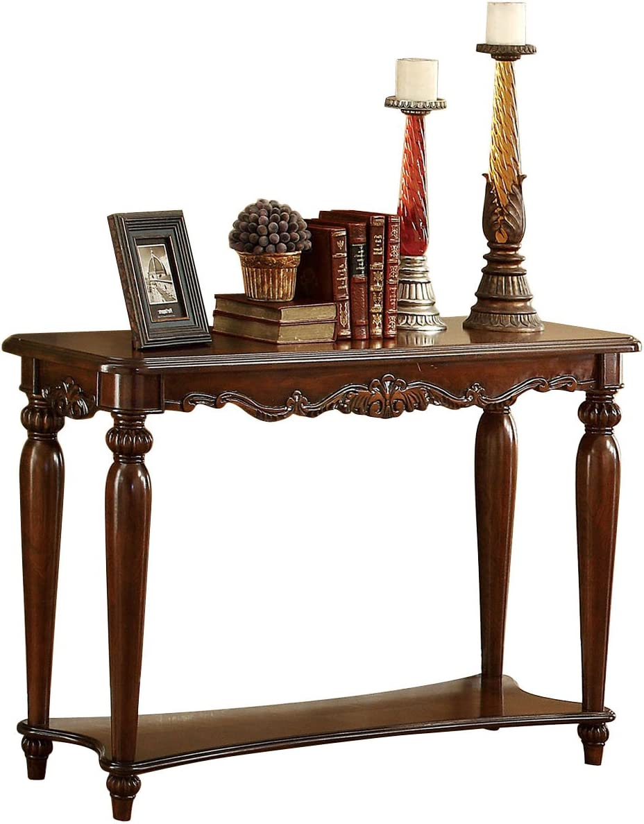Furniture of America Beltran 3-Piece Traditional Faux Marble Top Accent Tables Set, Dark Oak