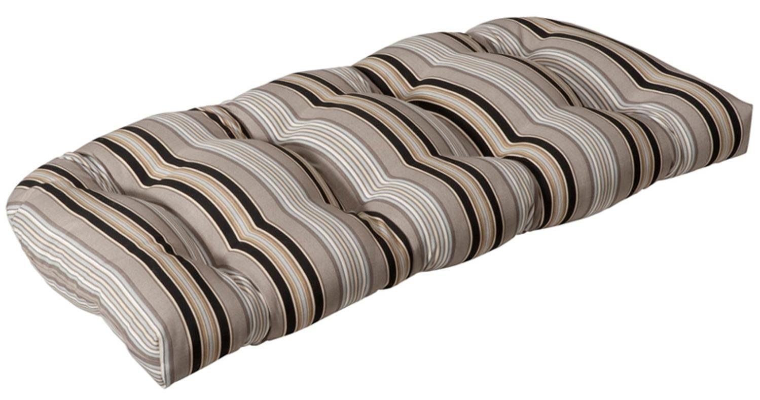 Outdoor Patio Furniture Wicker Loveseat Cushion - Black & Tan Striped Voyage CC Home Furnishings