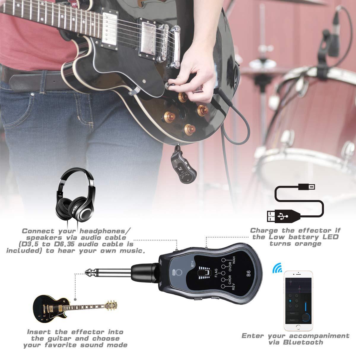 ELEGIANT Mini Amplificador de Guitarra Bluetooth, Transmisor Inalámbrico para Guitarra Eléctrica de Audio Portátil Recargable Sintetizador 5 ...