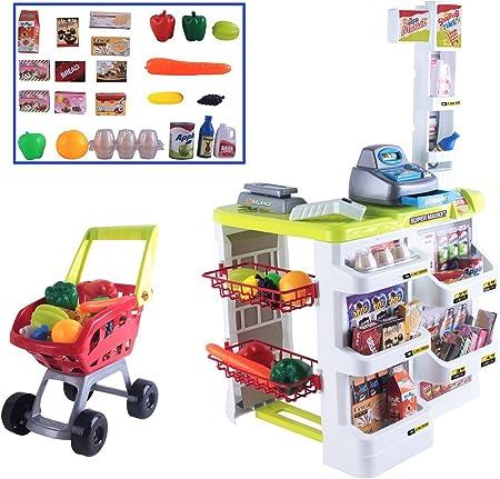 Supermercado de juguete. Puesto de mercado y carrito de la compra a juego,Incluye una gran variedad