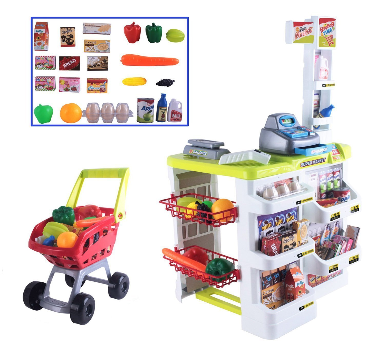 deAO Kids Role Play Supermarket Set Superstore Shop Toys Children Supermarket SPMW