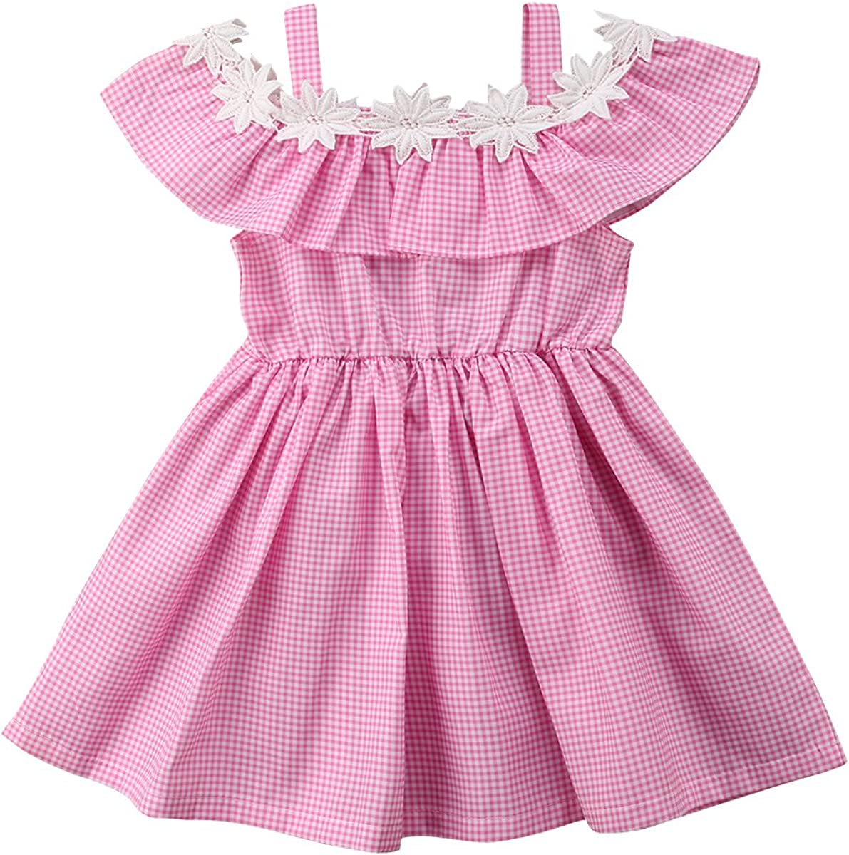 West Sweety Baby Girls Off Shoulder Ruffled Princess Dress Fashion Plaid Casual A-line Dress 0-6T