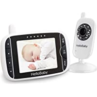 Baby Monitor, HelloBaby Video Baby Monitor with Camera and Audio, 3.2'' LCD Display Screen, Automatic Night Vision…
