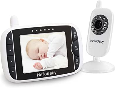 Baby Monitor, HelloBaby Video Baby Monitor with Camera and Audio, 3.2'' LCD Display Screen, Automatic Night Vision Camera,Two-Way Audio,Room Temperature Monitoring and Lullabies