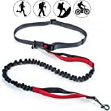 AikoPets Hands Free Waist Dog Leash with Dual Bungees, Free Control for Up to 150 lbs Dogs, Durable Dual-Handle Bungee Leash with Adjustable Waist Belt - for Running, Jogging or Walking