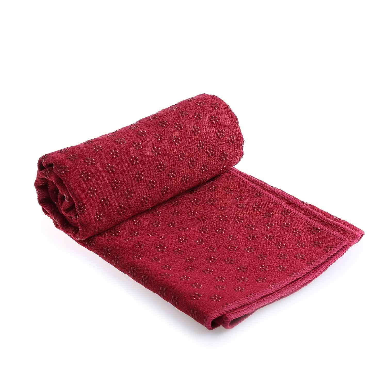 Caliyo Yoga Mate Towel for hot Yoga Non Slip - Super Soft Slip-Resistant 100% Sweat Absorbent Microfiber Standard Sized for mat Perfect for Hot Yoga ...