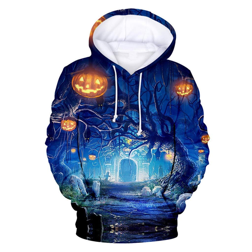 Xinantime Womens Hoodied Sweatshirt Halloween Horror 3D Print Party Long Sleeve Pullover Top Blouses Blue by Xinantime