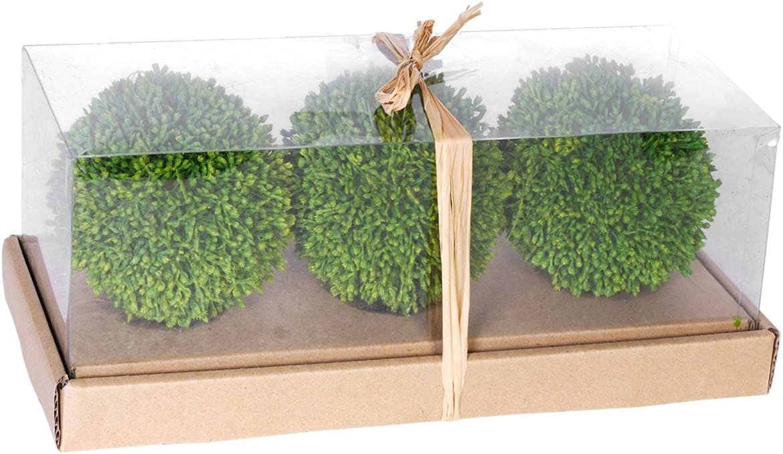 A&B Home Artificial Foliage Decorative Balls, 4-Inch, Green, Set of 3