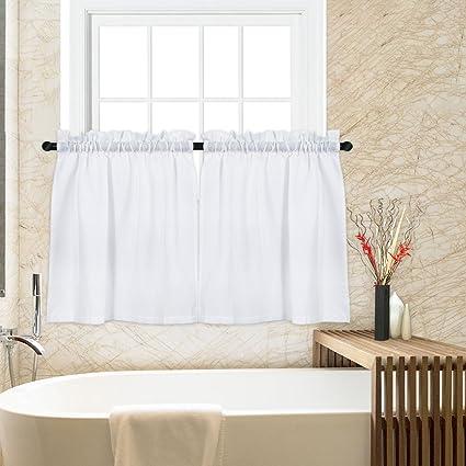 CAROMIO 36 Inch Tier Curtains for Kitchen White, Waffle Woven Textured Rod  Pocket Bathroom Window Curtains Cafe Kitchen Curtains, 1 Pair