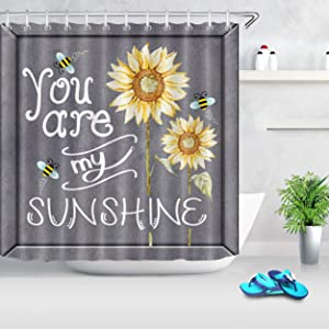 LB Farm Style Watercolor Bees and Sunflowers Shower Curtain with 'You are My Sunshine' Quote Shower Curtain on Rustic Grey Backdrop 72x72 Inch Polyester Fabric with 12 Hooks