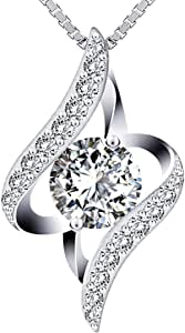 Swarovski Elements 925 Sterling Silver Pendant Necklace JRosee Jewelry JR396