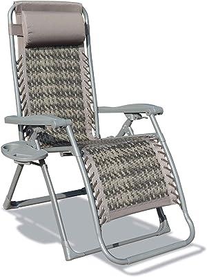 GOLDSUN Outdoor Rattan Folding Reclining Sun Lounger Zero Gravity Wicker Chaise Lounge Chair for Garden Patio Beach Porch (Dark Grey)