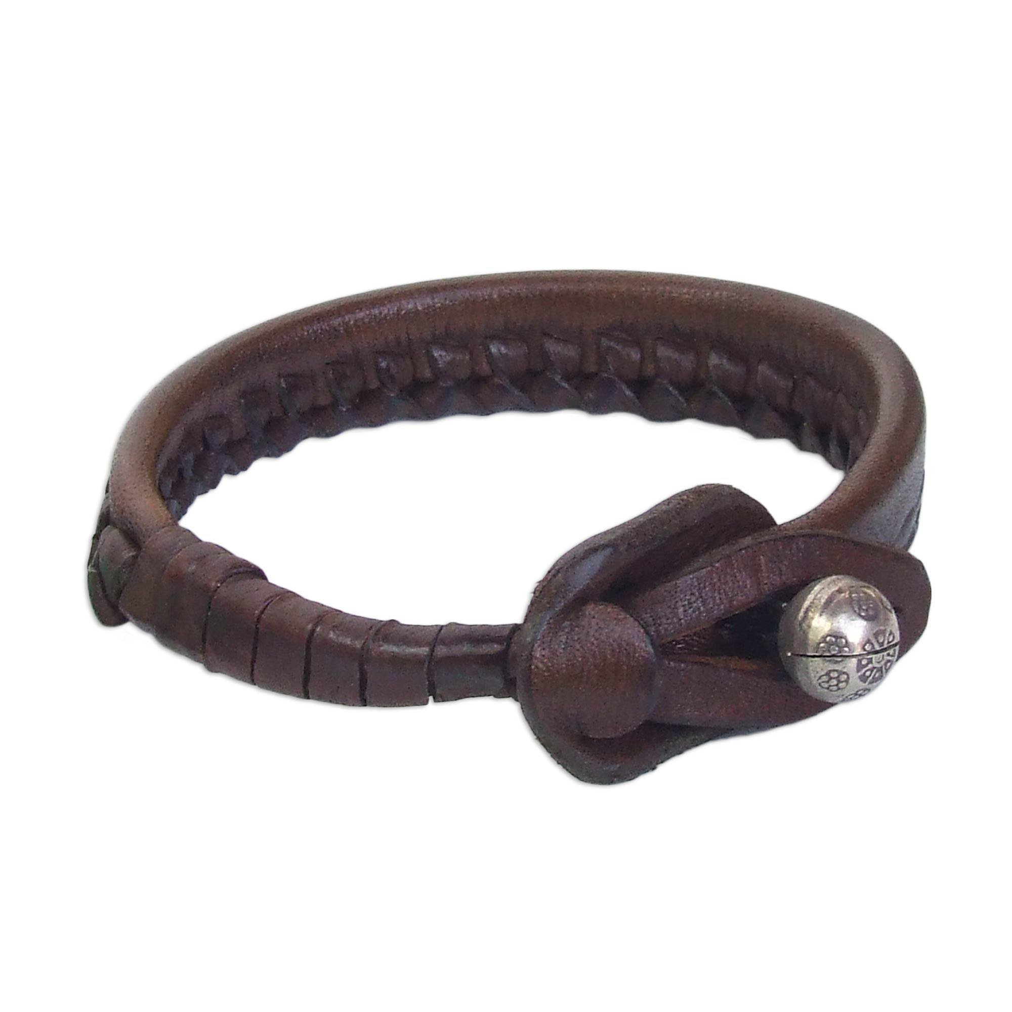 NOVICA Woven Leather Wristband Bracelet, with .950 Silver Bell, 7'', Asian Chic'