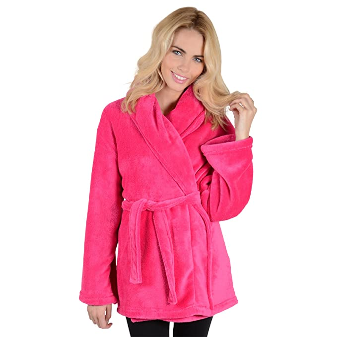 cc571d06f9 Ladies Luxury Fleece Mini Short Bath Robe Housecoat Dressing Gown Wrap  Bathrobe  Amazon.co.uk  Clothing