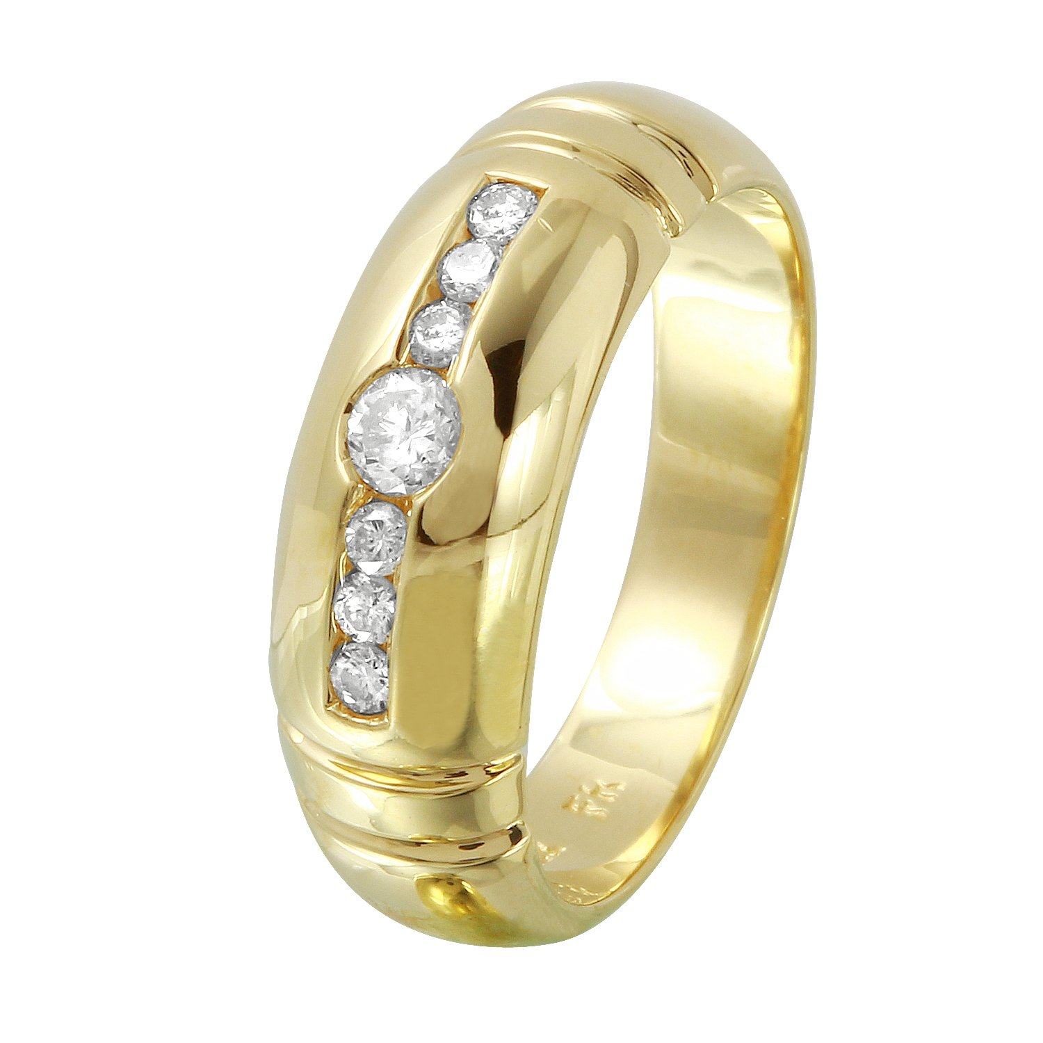 0.33 Carat Natural Diamond 14K Yellow Gold Wedding Band for Men Size 9
