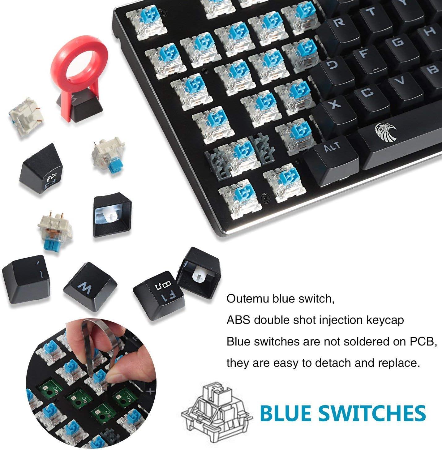WSY Clavier mécanique de Jeu, Petit Design Ergonomique Compact en Aluminium pour Les Joueurs (Interrupteur Noir, Bleu) Blue