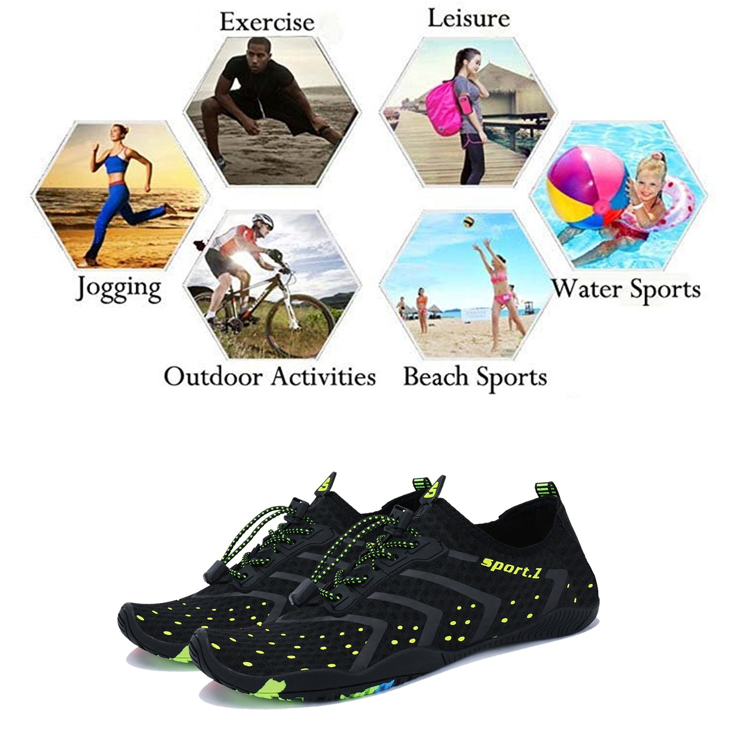 WXDZ Athletic Aqua Sock Water Shoes for Water Sport Beach Pool Boat Surfing Diving by WXDZ (Image #7)