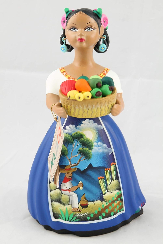 Blue NAJACO Premium Figurine Mexican Lupita Doll Ceramic Basket of Chilies