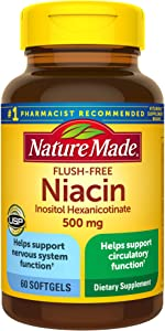 Nature Made Flush-Free Niacin 500 mg Softgels, 60 Count (Packaging May Vary)