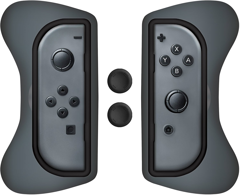 Surge Nintendo Switch Grip Kit, Joy-Con Grips & Thumb Grips - Grey