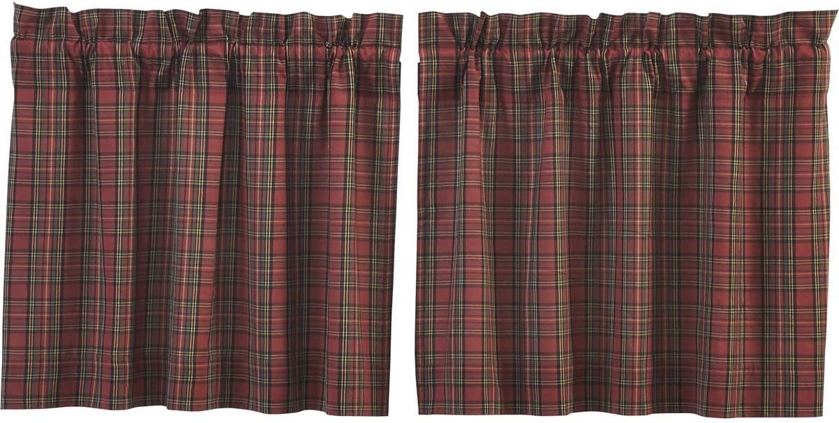 VHC Brands Primitive Rustic Lodge Kitchen Window Curtains-Tartan Red Plaid Tier Pair, L24 x W36