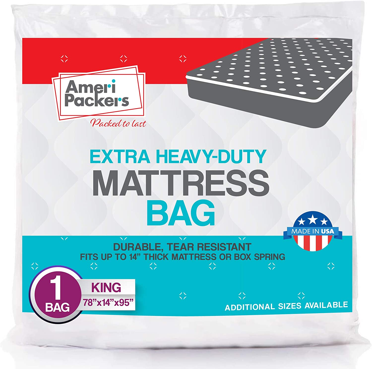 AmeriPackers King Size, Heavy Duty Mattress Bag For Moving & Storing Fits Standard, Pillow Top Variation & Protects Mattress From Stains, Tears, Dirt,