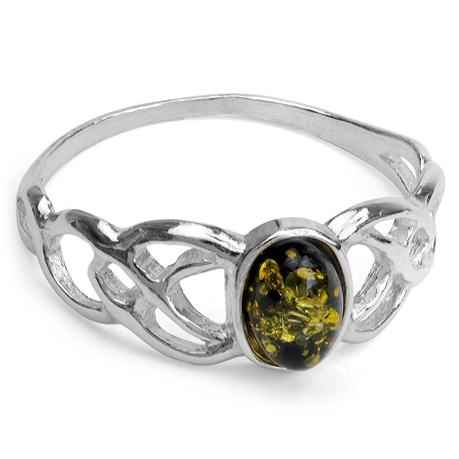 Green Amber Sterling Silver Small Celtic Oval Ring