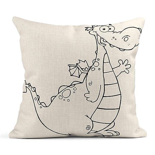 Kinhevao Cojín Dinosaurio Dragón en Blanco y Negro Mascota ...