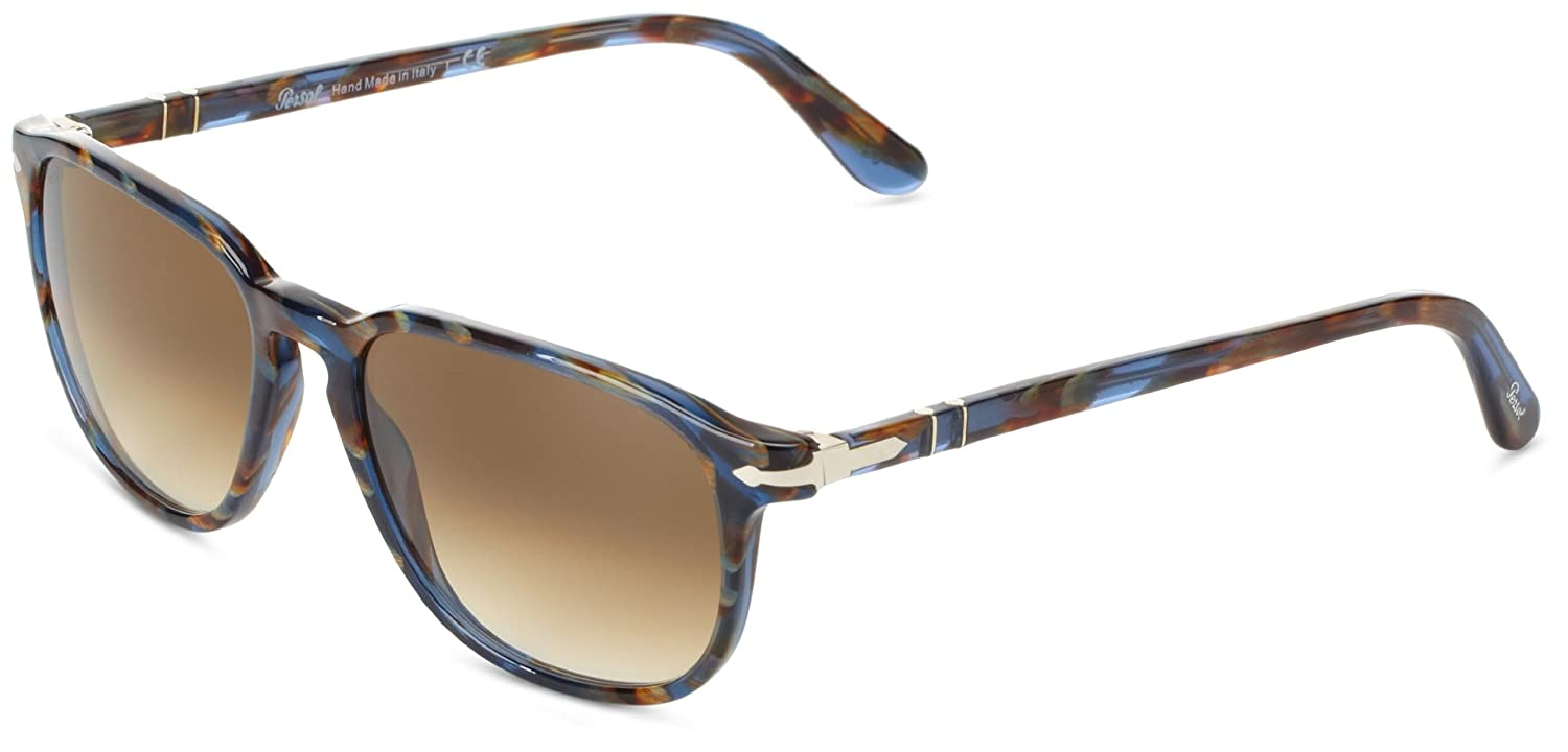 0f367597592b0 Persol Men s 3019 Blue Striped Horn Frame Brown Gradient Lens Plastic  Sunglasses